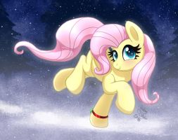 MLP FIM - Fluttershy Running Out In The First Snow by Joakaha