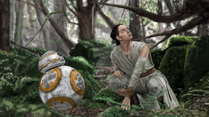 Star Wars the force awakens Rey and BB8 by billycsk