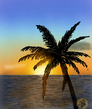 Palm tree (Day 241) by Hedwigs-art