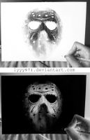 Jason (Friday the 13th) - Negative drawing by lyyy971