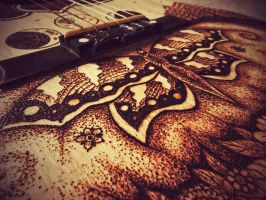 Close Up Butterfly Pyrography by KenazArt