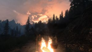 Skyrim camping near solitude at dusk by Summontheminions