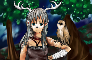 Deer and owl by Aguashida