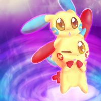 Minun and Plusle~ by Renapop