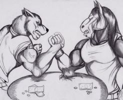 Arm wrestling request by XIFrostElevenXI