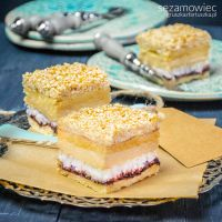 sesame cake with coconut, cranberry jam and halva by Pokakulka