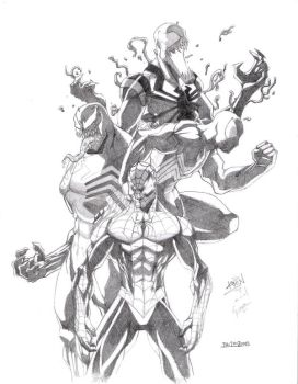 spiderman and the symbiote by keviouns