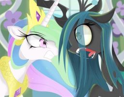 Celestia vs chrysalis by Coltsteelstallion