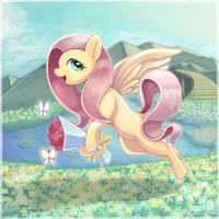 Fluttershy in the secret garden by Usappy-BarkHaward