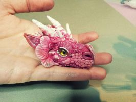 Pink Dragon Head Pendant by AstridMakosla