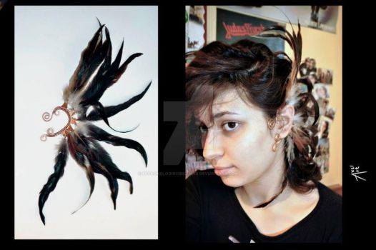 feather earcuff by Petronelodinobrianna