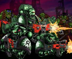 Space Marines Auroras vs. Orks by old-stone-road