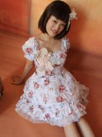 Infanta Square Collar Bowknot Lace Up Lolita Dress by miccostumes