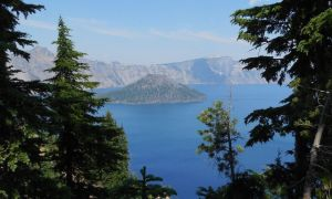 Wizard Island in Crater Lake by LEXLOTHOR