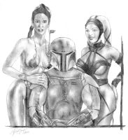 Boba Fett and the girls by csonger
