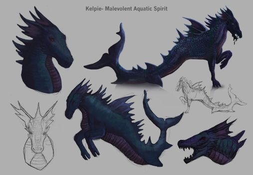 Kelpie design and sketches by Cinder-Cat