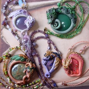 A Gaggle of Polymer Clay Dragons by elvenelysium