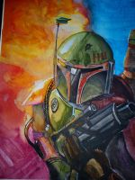 Boba Fett water color painting by ShockBlade501