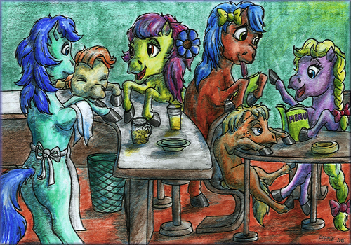 Equines' society in a bar by elfman83ml