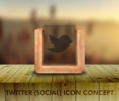 Wood and Glass Socila Icon Concept by PwrdesignStudio
