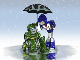 Mirage and Hound in the Rain by wachey