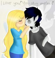 I love you you silly vampire! by Drawing-Heart