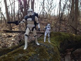 Storm Troopers on Mossy Log by TheLittlestGiant