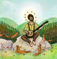 The Man and the Foxes by kinachuku