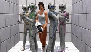 Chell and the Cores (Sims 3) by CamKitty2