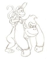 DK and Diddy sketch by mattdog1000000
