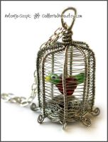 Birdcage pendant - wire wrapped by Faeriedivine