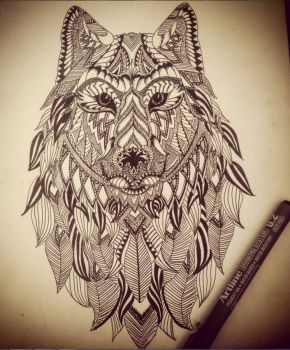 Zentangle Wolf by miss-supernatural