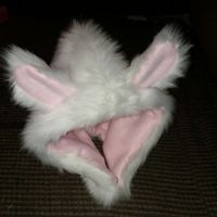 White and Pink Bunny Infant Baby Hat Reversible by kawaiibuddies