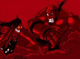 Alucard VS Hellboy by OrochiGhOsT