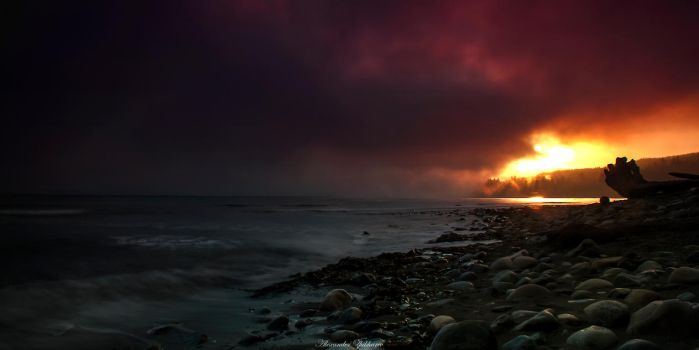 Sunset in the fog by Zapa3a