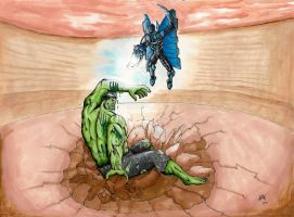 Hulk vs the Blue Beetle -CBR by batmanners