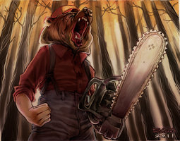 BEAR WITH A CHAINSAW by herringbonnes
