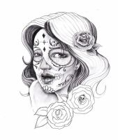 sugar skull lady by zioman