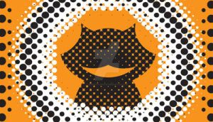 Halftone Cat on Orange by draMatic-poEtry
