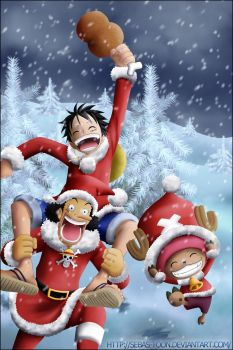 One Piece Merry Christmas by sebas-toon