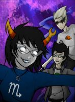 Homestuck - Aranea, Jake and imaginary Dirk by MelSpontaneus