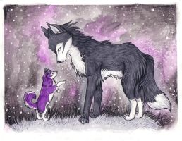 Huskie pup and Ferine by JustRach