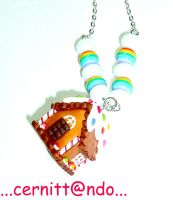 Gingerbread house necklace by cernittando
