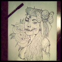 Zombie PinUp Girl by F3artheR3aper