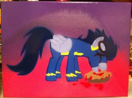 Soarin eating a pie stencil by Steven304