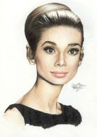 Audrey Hepburn 154 colored pen by Ethan-Carl