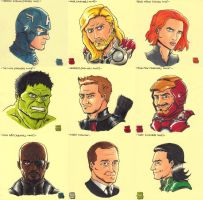 Sticky Note Sketches - The Avengers by WizardOfAuz
