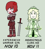 Nov 10, 11 - Warrior Girl and Cleric Kid by Tailsvader