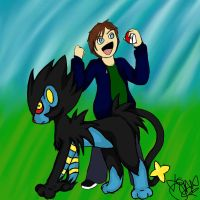 Arron and his Luxray by The13thUnluckyJinx