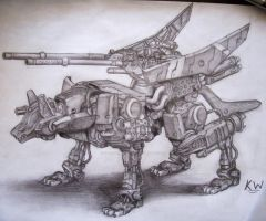 Command Wolf AC Pencil Drawing by Spectrum-VII